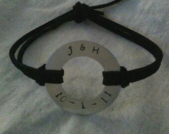 Hand Stamped Washer Bracelet