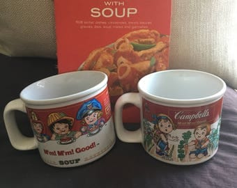 Campbell Soup Cookbook and Two Mugs