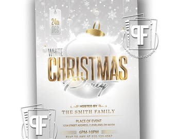 White Christmas Party Invitation - Christmas Invitation - Christmas Party Invitation - White and Gold Christmas Invitation