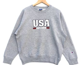 On Sale!!! Rare!! Vintage 90s Champion Usa Jumper Pullover Sweatshirt Hip Hop Swag Style Celebrity Fashion Streetwear Medium Size