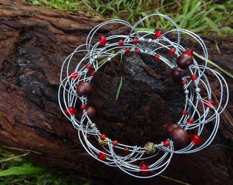 Upcycled Red Wire Mandala