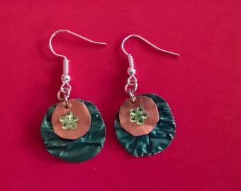 Round earrings with Nespresso capsules