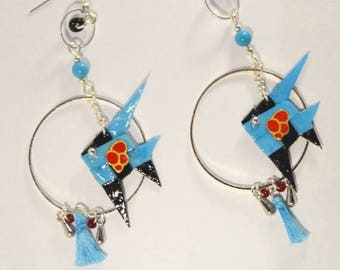 Pair of earrings Origami papers Sakana Blue Laklak 漆