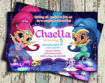 Shimmer and Shine Invitation, Shimmer and Shine Birthday, Shimmer and Shine Digital, Shimmer and Shine Invites, Shimmer and Shine Printables