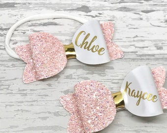 Personalised sisters matching bow set, toddler glitter hair bow set, personalised baby headband, pigtail set, personalised birthday gift