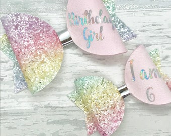 Birthday Girl hair bow, pink glitter bow, rainbow clip, personalised bow, girls birthday gift, baby headband, personalised gift,
