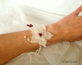 Nude-Bordeaux silk flower ivory Bracelet wedding beads