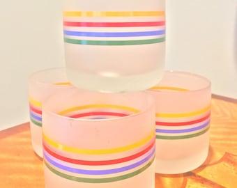 JUICE GLASS SET Juice Glasses Vintage Glassware Retro Glasses Striped Frosted Cups