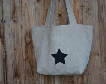natural linen tote bag