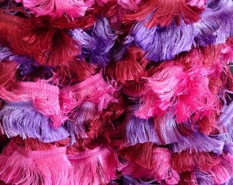 Pink and purple ruffled scarf