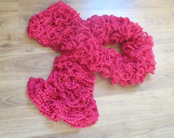 Hand knitted fashion scarf raspberry