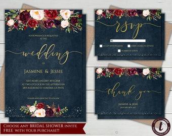 Marsala Wedding Invitation Instant Download Burgundy Invite Boho Floral