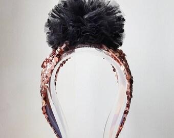 Sequinned Pom Pom Headband