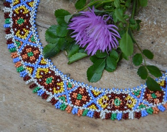 Ethnic jevelry  unique bead necklace seed bead necklace  the collar of bead  traditional ethnic  ukrainian jevelry multi-colored necklace