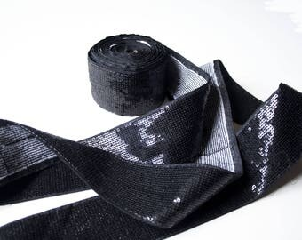 Indian Sequin 6 cm x 50 cm black ribbon