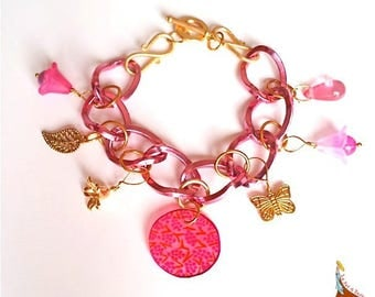 "Pink bracelet chain links pendant charms beads ""Rosy"" rose gold plated"