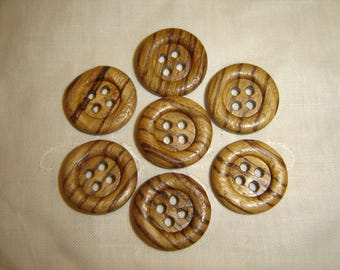 FANCY wood buttons 7 / / 23 mm