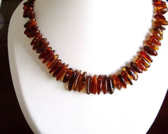 Necklace genuine amber, 3 colors.