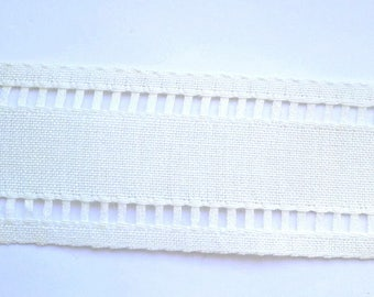 Lace openwork linen 0.90 m x 6 cm, off-white, white linen Ribbon in-between days openwork linen
