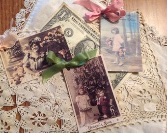 Vintage French Tags / Flea Market / Junk Journal / Scrapbooking  / Card Making / Paper Crafting / ATC / Florist / Post Cards