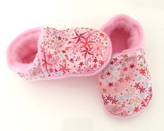 Soft liberty adelajda coral and fleece baby booties from birth or 22