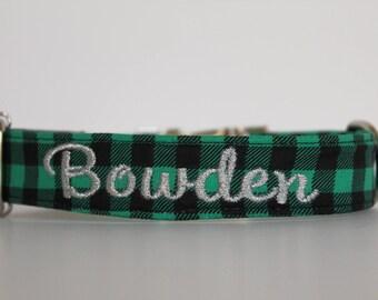 Green Buffalo Plaid Collar, Christmas Dog Collar, Holiday Collar, Winter Dog Collar, Embroidered Collar, Custom Collar, Personalized Collar