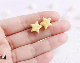 Earring type studs - yellow glitter stars