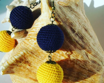 Blue and yellow sphere earrings. FREE SHIPPING in UK!
