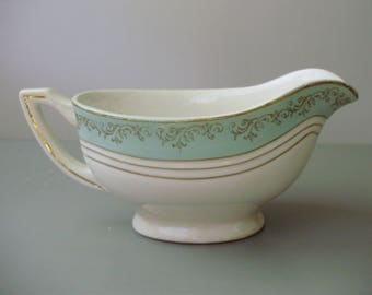 Vintage French semi-porcelain Sauce, Gravy Boat, Syrup pot,pouring,off -white and turquoise