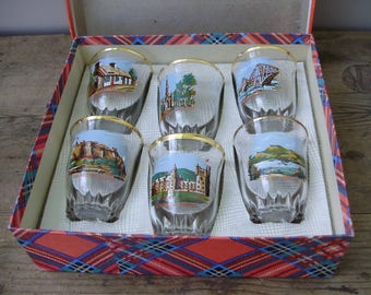 Rare,Vintage Scots/Scottish glass barware, shooters,6 shot glasses in original box