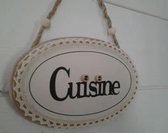 "Oval wooden door plaque ""cuisine"""