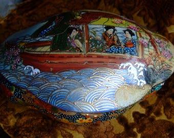 Satsuma porcelain box * 17/12/6 cm *-oval