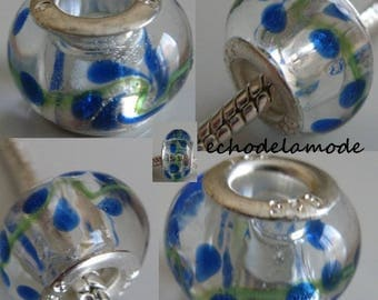 1 Charm Donut translucent puffed drawing effect blue and green glass bead