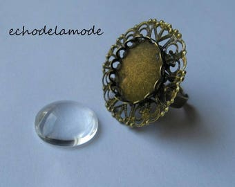 1 support bronze bronze Adjustable ring and 18 mm glass cabochon