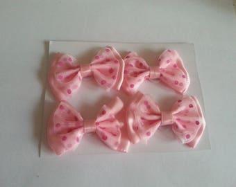 set of 4 pink organza satin knots peas 50mmx33mm
