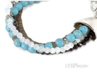 Bracelet 4 rows turquoise (gemstone), cat's eye, black crystal and coconut. Jewel by MP Bertrand 123Pierres