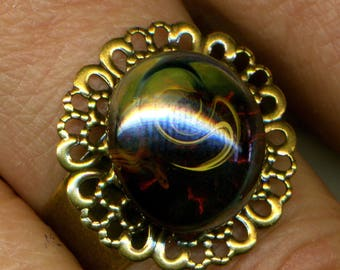 Adjustable ring, made with beautiful handmade cabochon