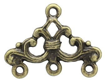 Antique brass triangle connector charms
