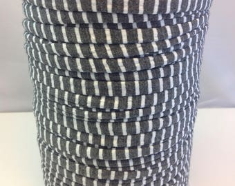 Large spool of Trapilho cotton striped white gray jersey