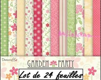 "Set of 24 sheets theme ""Garden Party"" 15 X 15 cm scrapbooking cardmaking (ref.110) *."