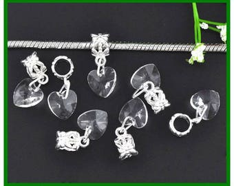heart shaped glass clear Crystal on a silver bail