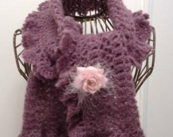 Heather yarn mohair/silk scarf
