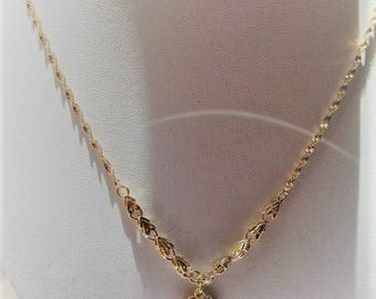Twisted gold chain NECKLACE with filigree heart jewelry very stylish accessory for women