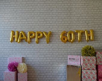 """HAPPY 60 TH  18 20 21 30 40 50  ,16"""" Rose Gold ,Silver or Gold Mylar Balloons, Foil Letters Balloon,anniversary Birthday Decoration"""