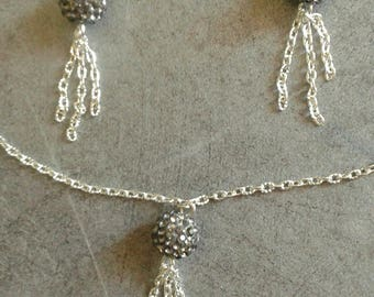 earrings and silver chain set