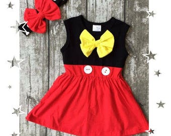 Minnie Mouse Button Dress | Free Headband