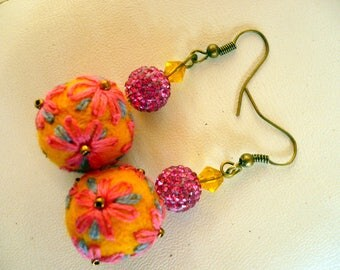 Earrings made of wool felted and embroidered yellow, Orange, pink and gray