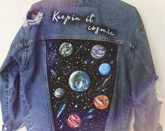 "Hand Painted Customized Vintage Denim Jacket ""Keepin it cosmic"""