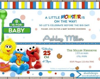 Sesame Street baby shower invitation - A Little Monster is on the way Baby Shower Invitation