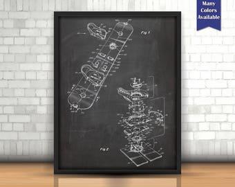 Snowboard Patent Digital, Snowboard Art, Ski Lodge decor, Winter Print, Sports Wall Art, Snow Ski